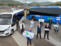 Bus Éireann and TFI Local Link Kerry personnel with local tourism and development representatives on Dingle pier this week where they welcomed  new and enhanced bus services in Kerry, connecting Tralee with the Dingle Peninsula. The Bus Éireann route 275 and TFI Local Link route 277 now connects Tralee to Dingle and Dingle to Dunquin respectively, operating seven days a week and providing greater connectivity for the towns and villages along the route.    Front: Alan O'Connell, General Manager TFI Local Link Kerry; Paddy Kennedy and Bus Éireann driver Wayne Moriarty. Back: Bláithín McElligott, Local Link Programme Manager NTA; Fiona Connolly, Bus Éireann; Local Link Kerry Board Member Cllr Breandán Fitzgerald; Tom Fitzgerald, Dingle Hub Community Engagement Officer; and Caroline Boland of Dingle Peninsula Tourism Alliance. Photo by Declan Malone