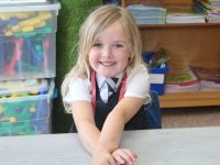 A Spa NS Junior Infant on her first day at school on Thursday. Photo by Dermot Crean