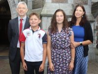 Caoilainn Culloo, with Conor, Rowan and Michelle Culloo, at the Blennerville NS Confirmation Day on Saturday afternoon at St John's Church. Photo by Dermot Crean