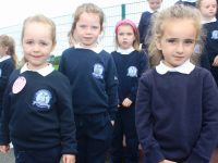 Junior infants at Blennerville NS on their first day at school. Photo by Dermot Crean