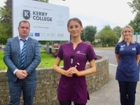 Edel Joy (centre) with Principal of Kerry College Stephen Goulding and Beauty instructor Tara O'Halloran Cronin. Photo by Dermot Crean