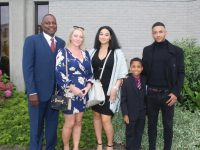 Cameron Patterson with Roscoe, Linda, Mia and Brandon Patterson, at the Holy Family NS Communion Day on Saturday at Our Lady and St Brendan's Church. Photo by Dermot Crean