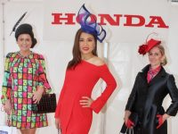 Maritess McCarthy (centre) who won Best Dressed Lady, Deirdre Kissane (left) who won Most Contemporary New Season Look and Niamh Lordan who won Best Headpiece, at McElligott's Honda Ladies Day at Listowel Races on Friday. Photo by Dermot Crean