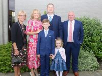 Harry Healy with Noreen Healy, Ciara Healy, Noel Healy, Freya Healy and Michael Costello, at the Listellick NS First Holy Communion Day at Our Lady and St Brendan's Church on Saturday. Photo by Dermot Crean