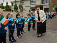 Minister Norma Foley on her visit to O'Brennan NS on Wednesday morning.
