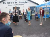 Students giving a drumming demonstration for Minister Norma Foley with Principal Grace Sheehan and Deputy Principal Louise McCarthy, at St Ita's and St Joseph's School on Friday morning. Photo by Dermot Crean