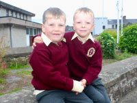 Twins Patrick and Aaron Stack on their first day at school at Mercy Moyderwell on Wednesday. Photo by Dermot Crean