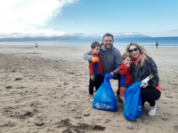 Volunteers out cleaning up Banna Beach on Sunday.