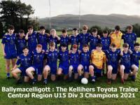 The Ballymacelligott U15 team that secured the Kellihers Toyota Tralee U15 Central Region Div 3 Final last Wednesday night.