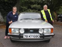 Anne Marie and Gerard O'Sullivan at the Cortina Owners Club of Ireland rally at The Meadowlands Hotel on Saturday morning. Photo by Dermot Crean